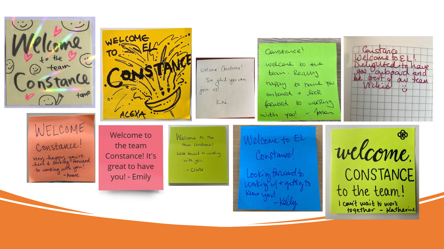 Welcome post-its from the EL team
